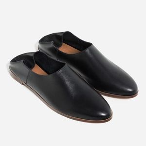Zara | leather pointed toe casual slip on flats